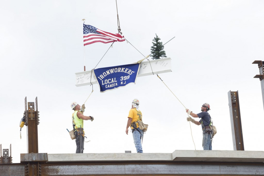 Union Ironworkers Set Final Piece of Steel Atop Downtown Glassboro's 220 Rowan Boulevard